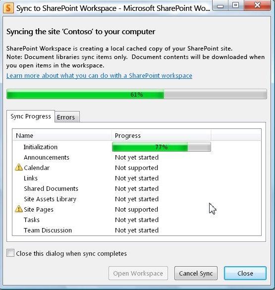 Παράθυρο προόδου Συγχρονισμός με τον υπολογιστή