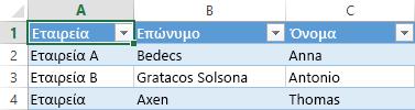 Υπολογιστικό φύλλο του Excel που εμφανίζει τρεις εγγραφές δεδομένων σε τρεις στήλες