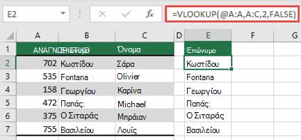 Χρησιμοποιήστε τον τελεστή @ και αντιγράψτε προς τα κάτω: = VLOOKUP (@ A:A, A:C; 2; FALSE). Αυτό το στυλ αναφοράς θα λειτουργεί σε πίνακες, αλλά δεν θα επιστρέφει έναν δυναμικό πίνακα.
