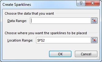 """Παράθυρο διαλόγου """"Δημιουργία Sparkline"""""""