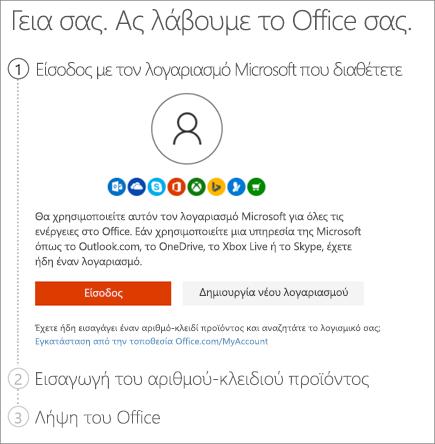 Εμφανίζει τη σελίδα setup.office.com όπου πραγματοποιείτε εξαργύρωση του αριθμού-κλειδιού προϊόντος