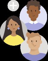 Απεικόνιση τριών ατόμων και ενός συμβόλου συν