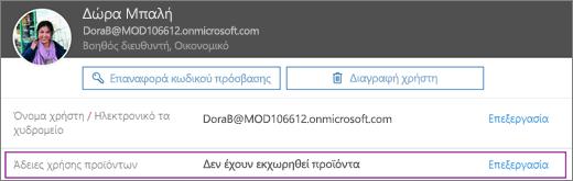 Στιγμιότυπο οθόνης εμφανίζει πληροφορίες για το χρήστη με το όνομα Allie Bellew. Στην περιοχή άδειες χρήσης προϊόντων δείχνει ότι δεν υπάρχει προϊόντα έχουν εκχωρηθεί για το χρήστη και είναι διαθέσιμη η επιλογή για να επεξεργαστείτε.