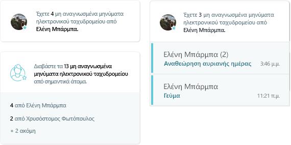 Στιγμιότυπο οθόνης της δραστηριότητας MyAnalytics ηλεκτρονικού ταχυδρομείου