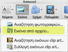 Στην Κεντρική καρτέλα της κορδέλας, στην περιοχή Εισαγωγή, κάντε κλικ στην επιλογή Εικόνα > Εικόνα από αρχείο.
