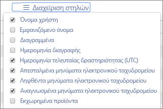 Αναφορές του Office 365 - διαχείριση στηλών για αναφορές δραστηριότητας ηλεκτρονικού ταχυδρομείου