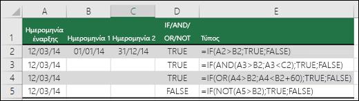 Παραδείγματα χρήσης της συνάρτησης IF με τις AND, OR και NOT για τον υπολογισμό ημερομηνιών