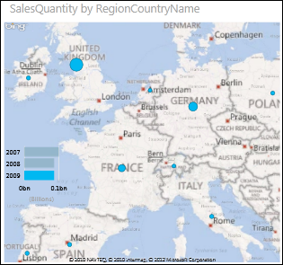 Χάρτης Power View της Ευρώπης με φυσαλίδες που εμφανίζουν τις ποσότητες πωλήσεων