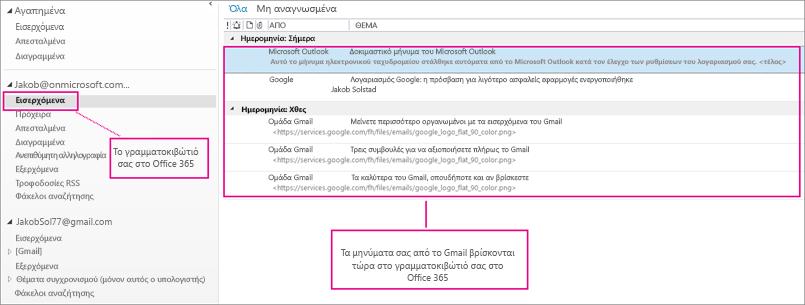 Μετά την εισαγωγή του ηλεκτρονικού ταχυδρομείου στο γραμματοκιβώτιο του Office 365, θα εμφανίζεται σε δύο σημεία.