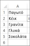 λίστα τιμών για χρήση σε σύνθετο πλαίσιο