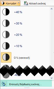 Για να λεπτομερές με ακρίβεια το ποσό της αντίθεσης, επιλέξτε Επιλογές διόρθωσης εικόνας
