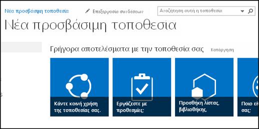 Στιγμιότυπο οθόνης της νέας τοποθεσίας του SharePoint που εμφανίζει εικονίδια που χρησιμοποιούνται για την προσαρμογή της τοποθεσίας
