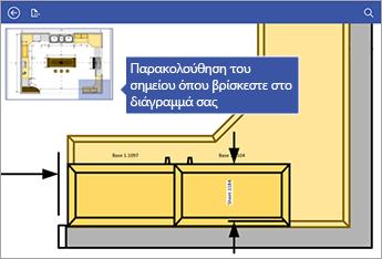 Το παράθυρο μετατόπισης στην επάνω αριστερή γωνία της οθόνης σάς βοηθά να βλέπετε το σημείο που βρίσκεστε στο διάγραμμα.