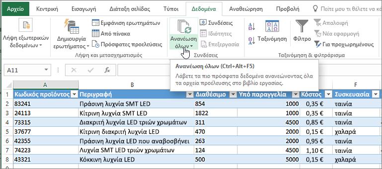 Υπολογιστικό φύλλο του Excel με λίστας που έχει εισαχθεί και επισημασμένο το κουμπί Ανανέωση όλων.