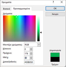 Εμφανίζει προσαρμοσμένα χρώματα