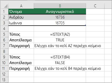 Παραδείγματα ISTEXT
