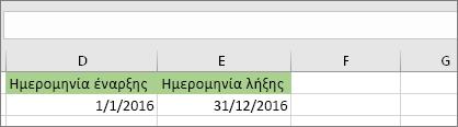 Η ημερομηνία έναρξης στο κελί D53 είναι 1/1/2016 και η ημερομηνία λήξης στο κελί E53 είναι 31/12/2016