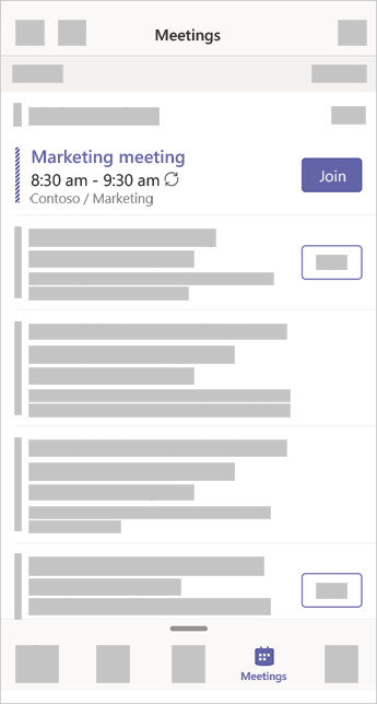 Η εφαρμογή συσκέψεις στο teams που επιδεικνύει μια σύσκεψη που συμβαίνει αυτή τη στιγμή και έχει ένα κουμπί συνδέσμου.