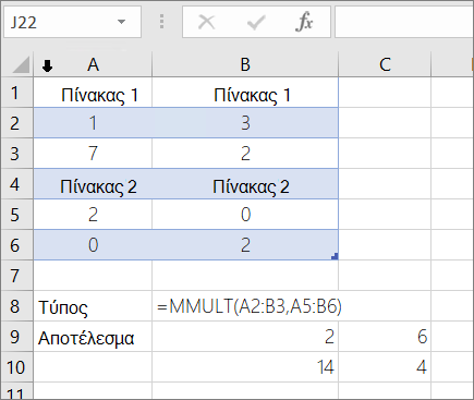 Συνάρτηση MMULT-παράδειγμα 1