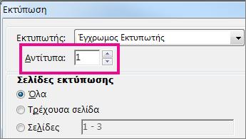 """Το παράθυρο διαλόγου """"Εκτυπωτής"""" του Word Online"""