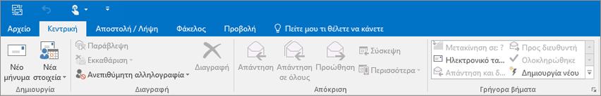 Αυτή είναι η εμφάνιση της κορδέλας στο Outlook 2016.