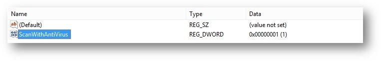 Registry Editor - ScanWithAntiVirus DWORD value