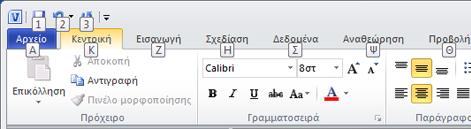 Η Κορδέλα του Visio 2010 με τις συμβουλές πλήκτρων συντόμευσης ορατές.