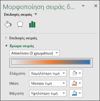 Επιλογές χρώματος της σειράς γραφημάτων του Excel Map