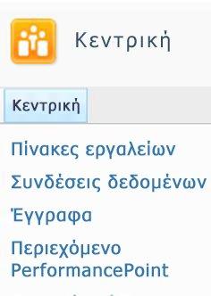 Οι διαθέσιμες λίστες και βιβλιοθήκες του SharePoint παρατίθενται στην επάνω αριστερή γωνία της τοποθεσίας σας στο SharePoint