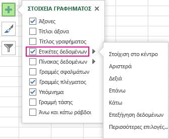 """Επιλογές ετικέτας δεδομένων στην περιοχή """"Στοιχεία γραφήματος"""""""