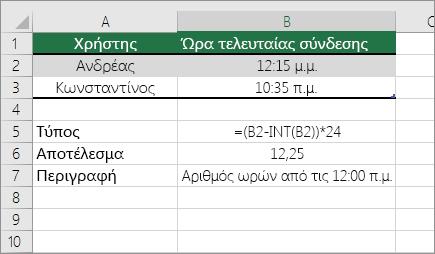 Παράδειγμα: Μετατροπή ωρών από τυπική μορφή ώρας σε δεκαδικό αριθμό