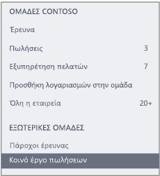 """Στιγμιότυπο οθόνης της γραμμής περιήγησης του Yammer που εμφανίζει μια ενότητα """"Εξωτερικές ομάδες"""""""