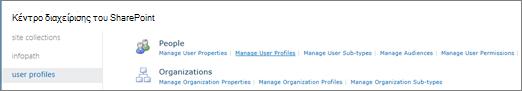 Στη σύνδεση Διαχείριση προφίλ χρηστών στη σελίδα προφίλ χρήστη