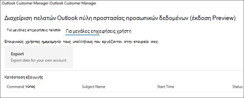 Στιγμιότυπο: Δεδομένα υπαλλήλων Διαχείριση πελατών Outlook εξαγωγής