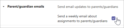 Επιλέξτε το πλαίσιο ελέγχου για να ενεργοποιήσετε τα μηνύματα ηλεκτρονικού ταχυδρομείου γονέα/κηδεμόνα.