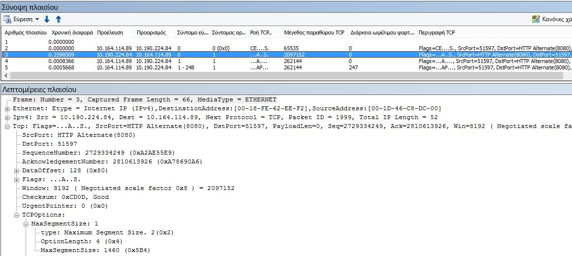 Ανίχνευση δικτύου φιλτραρισμένη στο Netmon με χρήση των ενσωματωμένων στηλών.