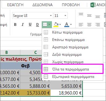Προσθήκη περιγράμματος σε πίνακα ή περιοχή δεδομένων