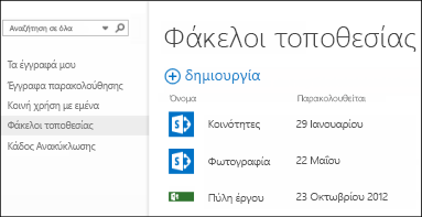 """Επιλέξτε """"Φάκελοι τοποθεσίας"""" στη γραμμή γρήγορων ενεργειών στο Office 365, για να δείτε τη λίστα με τις τοποθεσίες του SharePoint Online που παρακολουθείτε."""