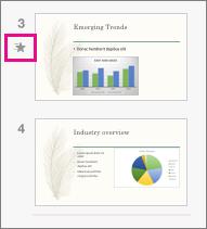 Ένα εικονίδιο πεφταστεριού δείχνει ότι έχει εφαρμοστεί ένα εφέ μετάβασης σε μια διαφάνεια