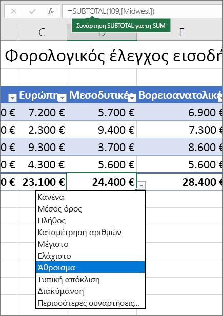 """Παράδειγμα επιλογής συνΟλικού τύπου γραμμής από την αναπτυσσόμενη λίστα """"συνολικός τύπος γραμμής"""""""