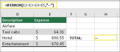 "Κελί H4 με τιμή =IFERROR(E2+E3+E4+E5,""--"")"