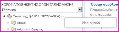 """Στιγμιότυπο οθόνης από το παράθυρο περιήγησης του εργαλείου διαχείρισης χώρου αποθήκευσης όρων, που εμφανίζει επιλεγμένο το στοιχείο μενού """"Νέα ομάδα"""""""