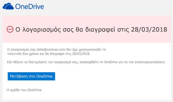 Στιγμιότυπο οθόνης ενός μηνύματος ηλεκτρονικού ταχυδρομείου