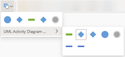 Η επιλογή του κουμπιού αλλαγή σχήματος ανοίγει μια συλλογή επιλογών για την αντικατάσταση του επιλεγμένου σχήματος.