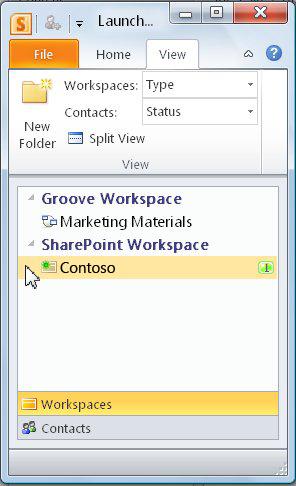 Ένας χώρο εργασίας του SharePoint στη γραμμή εκκίνησης