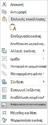 Μενού Word Win32 επεξεργασία εναλλακτικό κείμενο για εικόνες