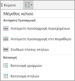 Μέγεθος κελιού πίνακα Android