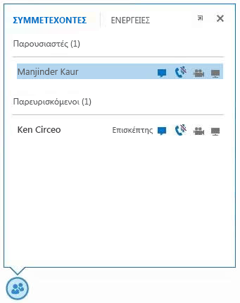 Στιγμιότυπο οθόνης με τα εικονίδια δίπλα στο όνομα ενός συμμετέχοντος που υποδεικνύουν τη διαθεσιμότητα των δυνατοτήτων άμεσων μηνυμάτων, ήχου, βίντεο και κοινής χρήσης