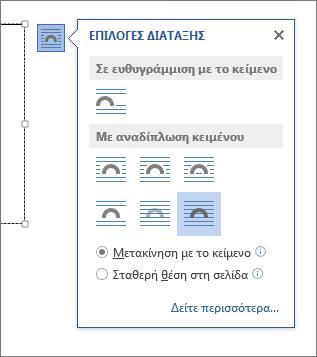 Επιλογές διάταξης πλαισίου κειμένου