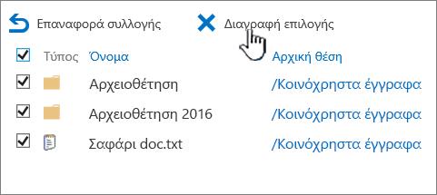 SharePoint 2016 2η επιπέδου Κάδος Ανακύκλωσης με όλα τα επιλεγμένα στοιχεία και διαγραφή επισημασμένο